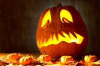 Jack-o'-lantern and pumpkins