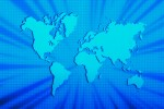 global map in blue