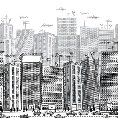 urban building with billboard