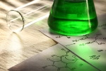Green chemistry with reaction formula in closeup