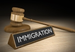 Law concept for immigration reform, with a wooden court gavel and a plaque that reads immigration.